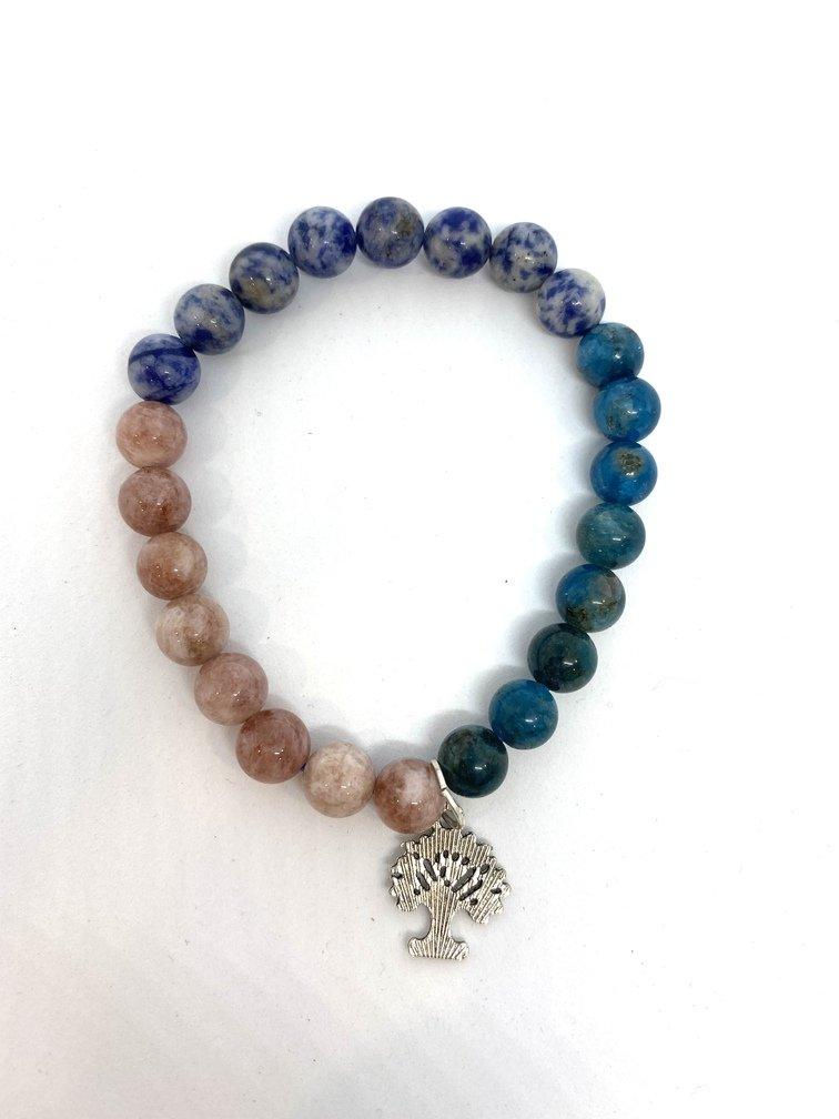 Apatite, Sodalite and Sunstone Crystal Bracelet