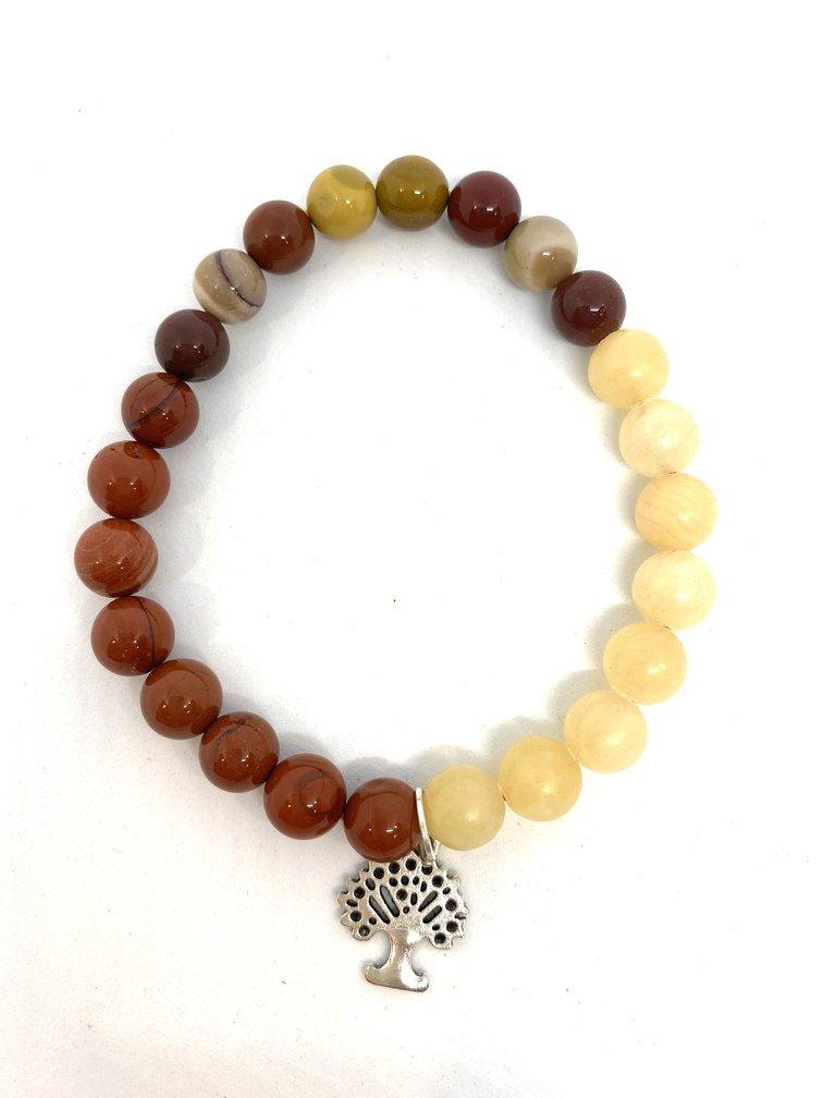 Calcite, Red Jasper and Mookaite Crystal Bracelet